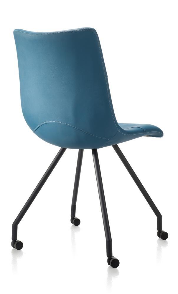 Eetkamerstoel petrol kleur blauw deba meubelen for Keukenstoelen met wieltjes